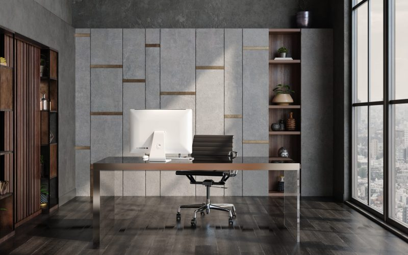 Modern home office interior in loft, industrial style, 3d render